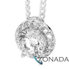 Classic Round Simulated Diamond 925 Sterling Silver Drop Pendants 35527/*