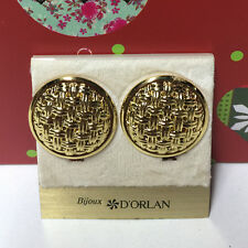 D'ORLAN VINTAGE GOLD WOVEN ROUND CLIP EARRINGS