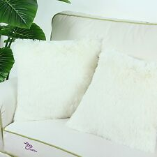 2Pcs Ivory Cushion Covers Pillows Shells Super Soft Plush Faux Fur Sofa 45x45cm