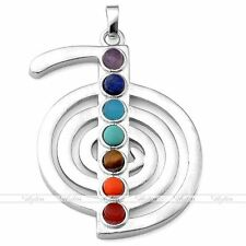 Cho Ku Rei Power Symbol 7 Chakra Resin Beads Silvery Reiki Healing Point Pendant