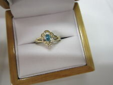 BEAUTIFUL ESTATE 14 KT GOLD VIVID BLUE DIAMOND RING !!!!!!!!!!!!
