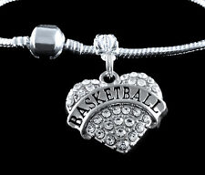 Basketball Charm Fits European style Bracelet  Basketball player Crystal Heart