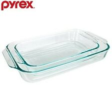 Pyrex Basics Clear Oblong Glass Baking Dishes, 2-Piece Value-plus Pack Set New