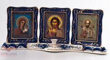Orthodox Triptych Icon God Lord Jesus Christ Virgin Mary S Nicholas candle gzhel