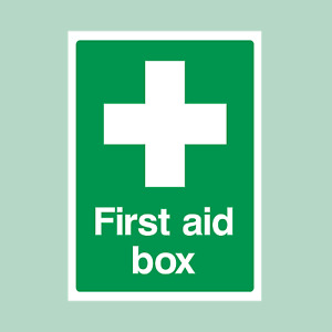 First Aid Box - All Sizes - Plastic Sign/Sticker - Safety, Emergency (MISC7)