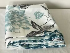 Beautiful Turquoise Flowers/Black Leaves Graphic On White Shower Curtain Used