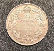 AU 1919  Canada Quarter 25 Cents Silver Coin.