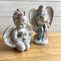 Vintage Pearlescent Kneeling Praying Cherub Angel with Flowers in Hair set