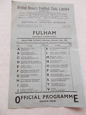 Bristol Rovers RES. V Fulham RES. - simple feuille football programme 20/2/1960