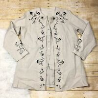 Relativity Womens Jacket Size S Petite Vest 2 Piece Linen Embroidered NWT