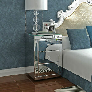 Mirrored Glass Bedside Table cabinet 3 Drawers & Crystal Handles Bedroom UK