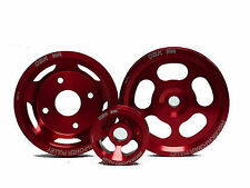 OBX RED Pulley 3pcs Steering Alternator Water Pump Fit 95 96 97 98 240SX KA24DE