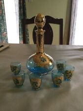 Bohemian/Italian Art Glass Hand Painted Decanter Cordial Set Azure Gold Enamel