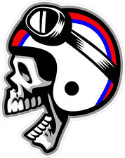"#582 3"" Cafe Racer Skull Helmet Decal Sticker Vintage cb kz Laminated!"
