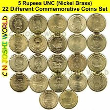 Very Rare 22 Different Nickel Brass 5 Rupees Commemorative Five Rupees UNC Set