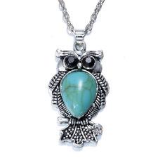 NEW Women Vintage Crystal Owl Pendant Necklace Long Chain Rhinestone Jewelry !!