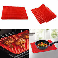 Pyramid Pan Non Stick Fat Reduce Silicone Cooking Mat Oven Bake Tray Sheets Red