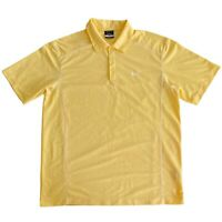 Mens Large Nike Yellow Dri Fit Short Sleeve Performance Golf Polo Shirt L