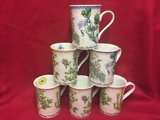Set For 6 Bone china mugs 3 Assorted Flowers designs (Special offer)