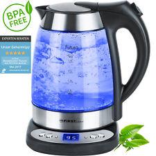 1,7 L Glas Wasserkocher mit Temperaturwahl 50-100°/ Warmhaltefunktion blaue LED