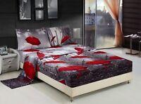 HIG 3D Sheet set -4 Pieces Parislove Effiel Tower Red Umbrella Print Sheet Sets