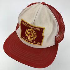 Madison County Fireman's Assn Trucker Ball Cap Hat Snapback Made USA Patch VTG