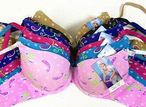 New 6 Womens Ladies Colorful Floral Demi Gentle PUSH UP Bra Full Cup (#AD145)