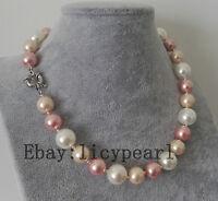 12-14mm gemischte Weiß Rosa & lila Muschelkernperlen Halskette,45 cm