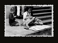 Girl Boy Children Beggar Building Street Sidewalk Vintage Hong Kong Photo #750