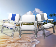 "Pactrade Marine White Folding Deck Chair UV Resistant Vinyl 1"" Anodized Aluminum"