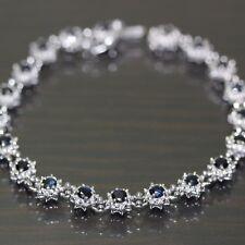 14k White Gold natural Blue Sapphire Floral Flower Link Chain tennis bracelet