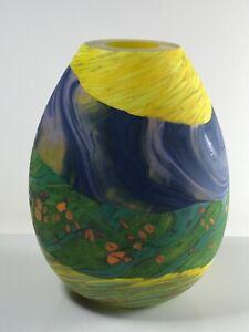 "6"" Badash Crystal Glass Signed Murano Style Art Glass Vase 2016"