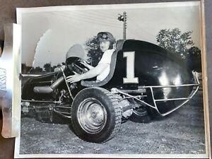Vintage 1950s Auto Racing Photo 8x10 B&W #1 Midget Car Photograph