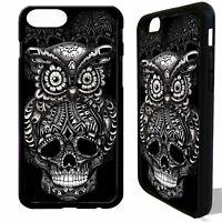 Owl sugar skull tattoo bird graphic art cover case for iphone 5 6 6S 7 8 plus X