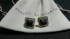 David Yurman Ladies Quatrefoil 18K Gold Diamond Carved Onyx Earrings