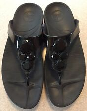 WOMENS FITFLOPS BLACK PATENT LEATHER WITH JEWELS SIZE 8