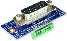 DB15 Male Breakout Board, adapter, (Male) eLabGuy D15-M-BO-V1AV