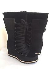 UGG MASON BLACK WATER/SNOW PROOF LEATHER WEDGE LACE BOOT US 7.5 / EU 38.5 / UK 6