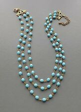 Turquoise glass crystal 3 row necklace .. Czech bead elegant gold tone jewelry