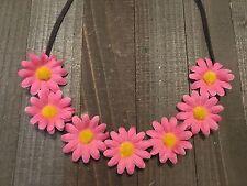 Handmade Pink Daisy Flower Halo Headband Summer Hair Rave Festival Gerbera Boho