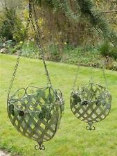 Set of 2 Ornate Large & Small Metal Berry's & Leafs Hanging Basket in Green 201