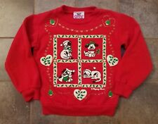Vintage Children's Christmas Holiday Sweatshirt Puppy Kitten Ugly Tacky NO SIZE