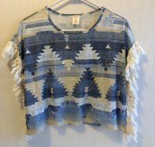 Arizona Jean Girls Medium 10/12 Blue Native American Poncho Style Shirt Fringes