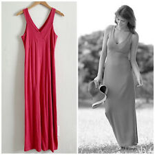 Fig Clothing Safari Maxi Dress Modest Organic Cotton Blend Pink Womens M Medium
