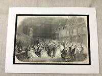 1856 Aufdruck Taufe Fete Paris Frankreich Französisch Ball Antik Original