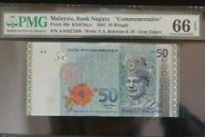 "2007 MALAYSIA RM50 PMG66 EPQ GEM UNC ""Prefix AA"" @ COMMEMORATIVE <P-49b>"