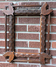 Antique ADIRONDACK Folk Art CARVED WOOD Picture Frame OAK LEAF Corners 10 x 14