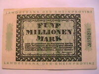 1923 German State Dusseldorf VF+ 5,000,000 5 Million Mark Germany Banknote 1166h