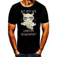 Aus dem Weg unnötiger Sozialkontakt Fun Geschenk Print Tshirt T Shirt Herren