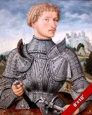 16TH CENTURY GERMAN MAN KNIGHT IN ARMOR PORTRAIT PAINTING ART REAL CANVAS PRINT